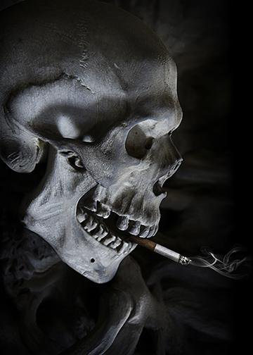 Smoking Skull, Door Cover - Door Decoration