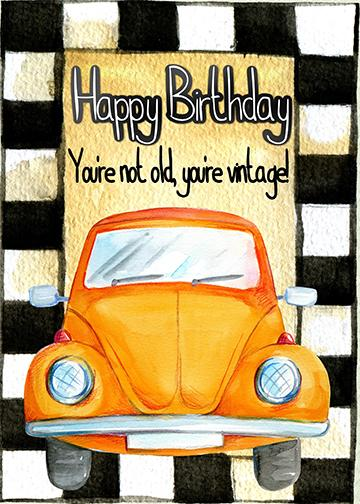 Happy Birthday Vintage Car