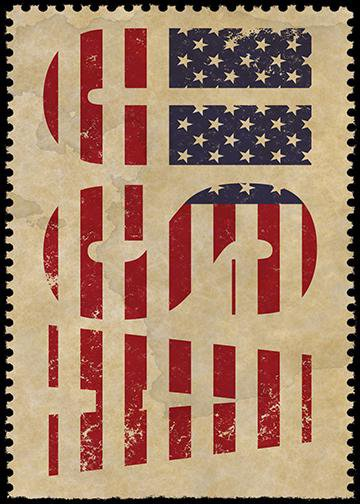 USA Stamp, DoorWrap - Door Decoration