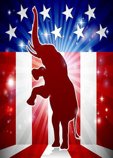 Standing Republican Elephant, DoorWrap - Door Decoration
