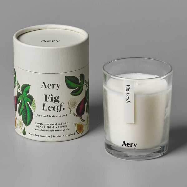 Aery Botanical Fig Leaf 200g Candle - Black Fig & Vetiver with Cedarwood essential oils