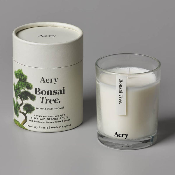 Aery Botanical Bonsai Tree 200g Candle - Birch Sap, Orange & Yuzu with Petitgrain, Balsam, Grass & Woods