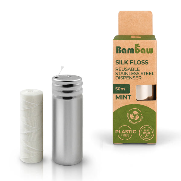Bambaw silk floss with reusable stainless-steel floss dispenser - Mint