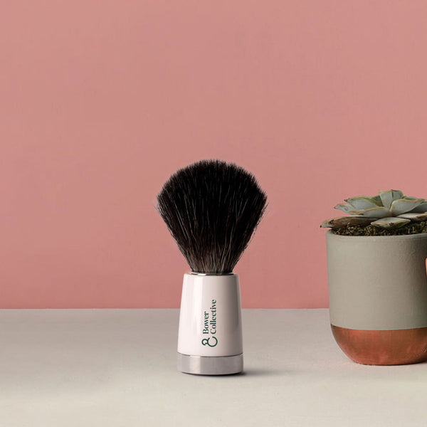 Bower Liscio Black Fibre Shaving Brush - White