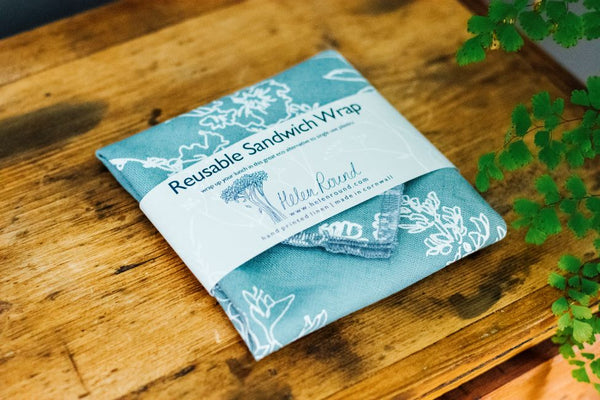 Helen Round Reusable Sandwich Wrap  - Hedgerow Collection - Duck Egg Blue