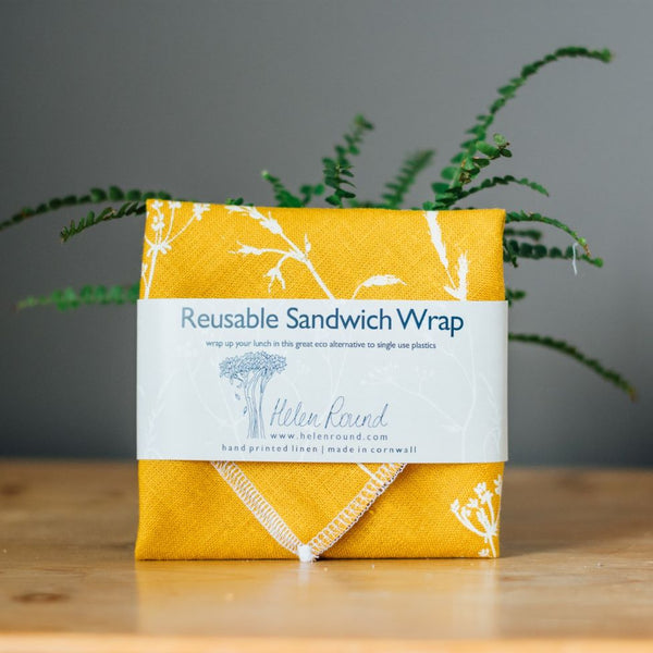 Helen Round Reusable Sandwich Wrap - Hedgerow Collection - Mustard