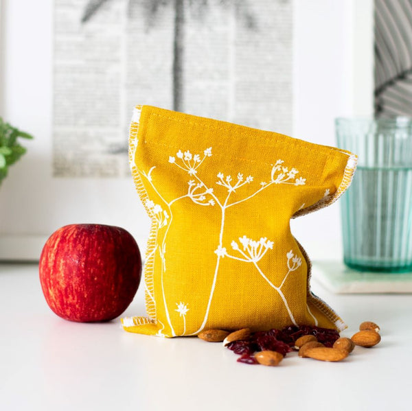 Helen Round Reusable Snack Bag - Hedgerow Collection - Mustard