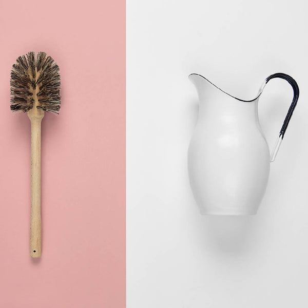 Enamel Pitcher & Plastic-free Beech Toilet Brush
