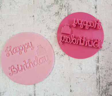 'Happy Birthday'  with Birthday cake and candles stamp