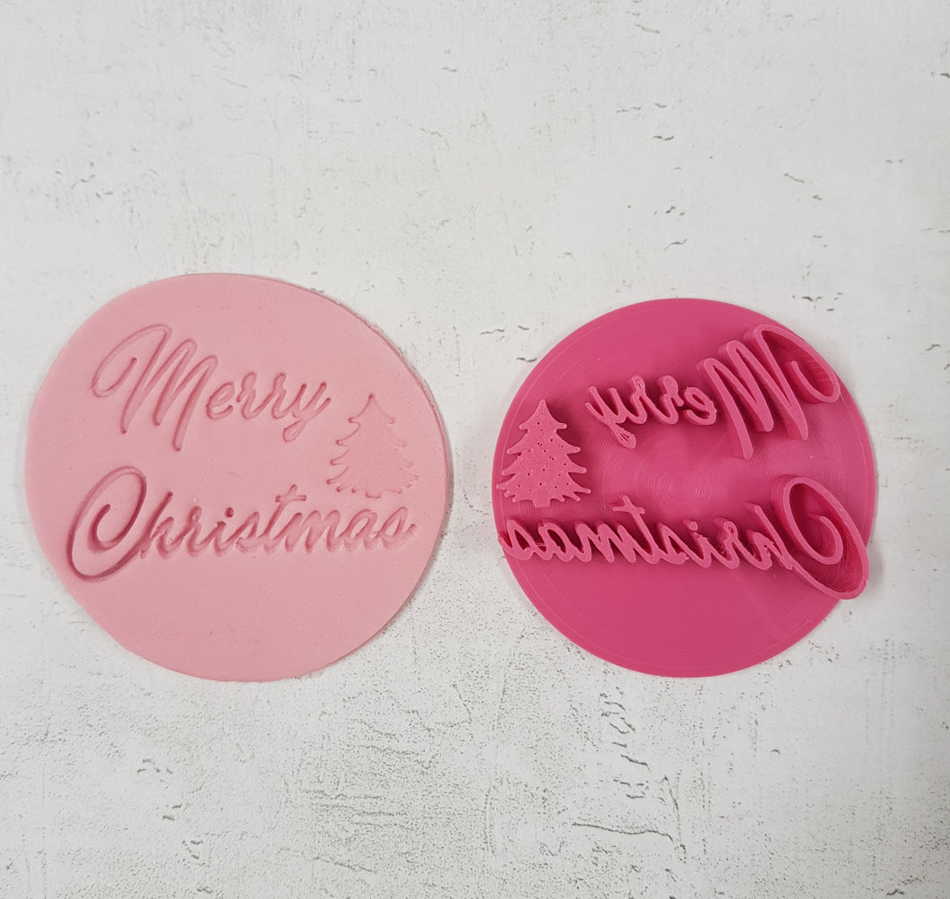 'Merry Christmas' with Tree Stamp