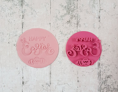 'Happy Easter with eggs' Stamp