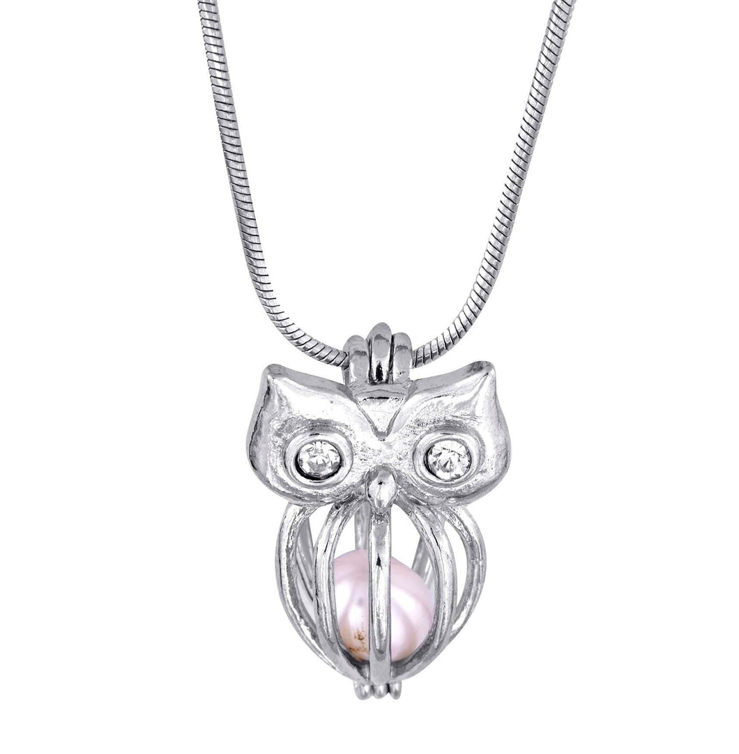 CLOSEOUT SPECIAL - Cage pendant Sterling Silver for 5mm to 7.5mm Loose Pearl or White Gold Plated for 5mm to 9mm Pearl Owl (SCP42, CP42)
