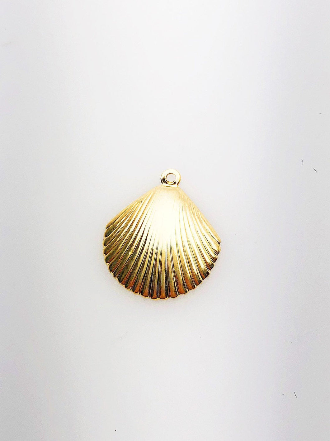 14K Gold Fill Seashell Charm w/ Ring, 14.4x16.4mm, Made in USA - 483