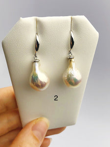 All Natural Edison Freshwater Baroque Pearl Drop Earrings on 925 Sterling Silver (478 No. 1-3)