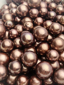 Chocolate Tahitian Pearls with Rose Wine Tint, Natural Color, Loose Pearls, Round, 9mm-14mm, AA Quality,Tahitian Pearls