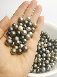 100 Tahitan Pearls, 11mm to7mm, Tahiti Loose Pearls, Round, 7mm - 11mm, A Quality