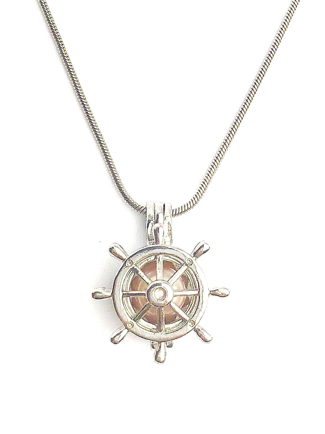 Captain Wheel Cage Pendant Sterling Silver for 5mm to 7.5mm Loose Pearl (CP100)