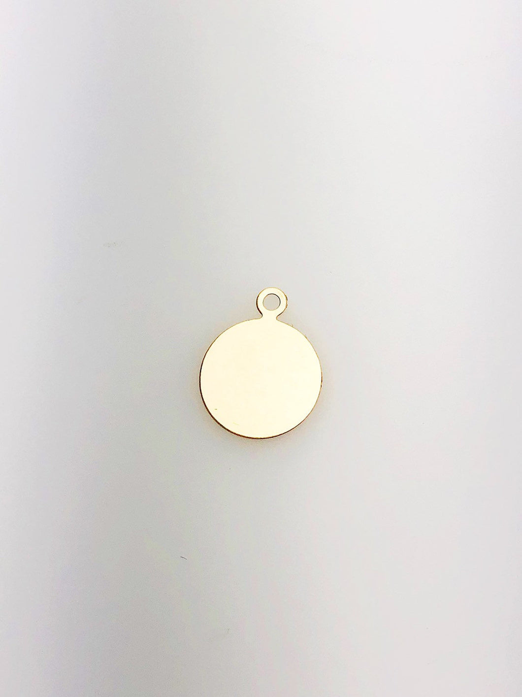 14K Gold Fill Circle Tag Charm w/ Ring, 12.7mm, Made in USA - 823