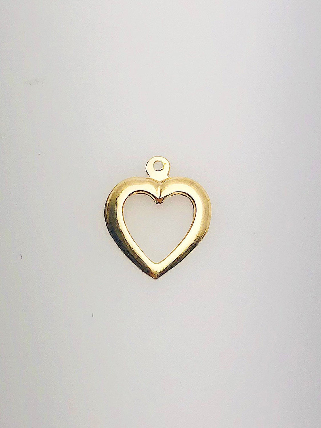 14K Gold Fill Cut Out Heart Charm w/ Ring, 10.3x12.7mm, Made in USA - 107