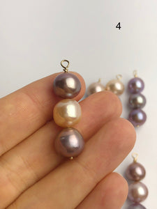 Edison Pearl Pendants on 14K Gold, Natural Color, 10-11mm, Made in Hawaii (547 No. 1-8)