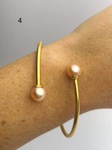 14K Gold Fill Flex Bangle Pearl Bracelets, Tahitian, Edison & South Sea Pearls #771