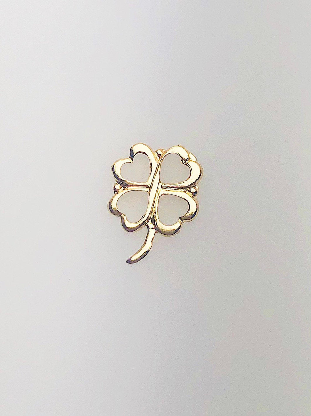 14K Gold Fill Four Leaf Clover Charm, 7.7x10.1mm, Made in USA - 488