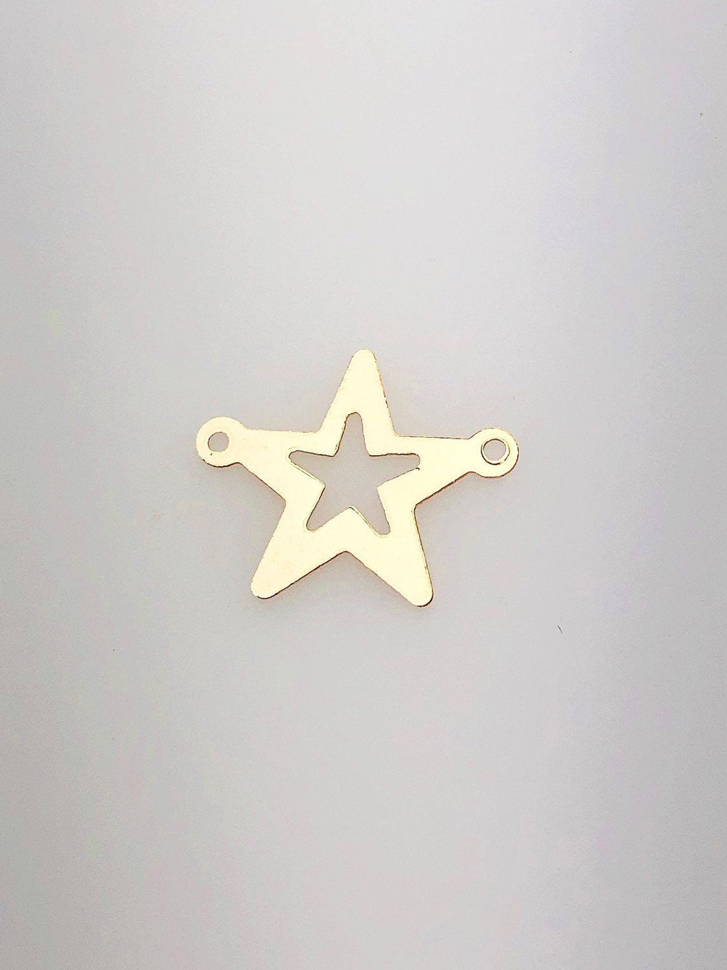 14K Gold Fill Star Charm w/ 2 Rings, 16.5mm, Made in USA - 62