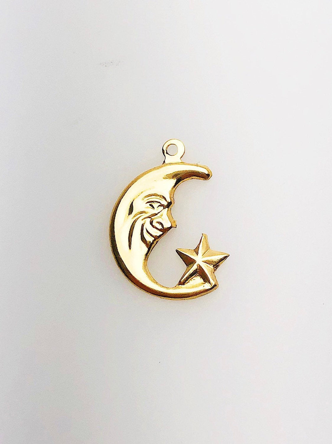 14K Gold Fill Moon & Star Charm w/ Ring, 11.0mm, Made in USA - 1840