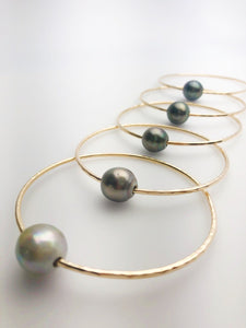 14K Gold Filled Single Tahitian Pearl Bangle Bracelets - Size Large - 13-14mm Pearls (787 No. 1-5)