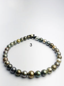 BIG 16mm Round Tahitian Pearl Necklace on Leather Cord, 12 - 16mm (286)