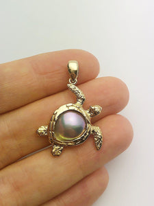 30% OFF - 14K Gold Sea of Cortez Mabe Pearl Pendant, Turtle, Made in Hawaii (#803)