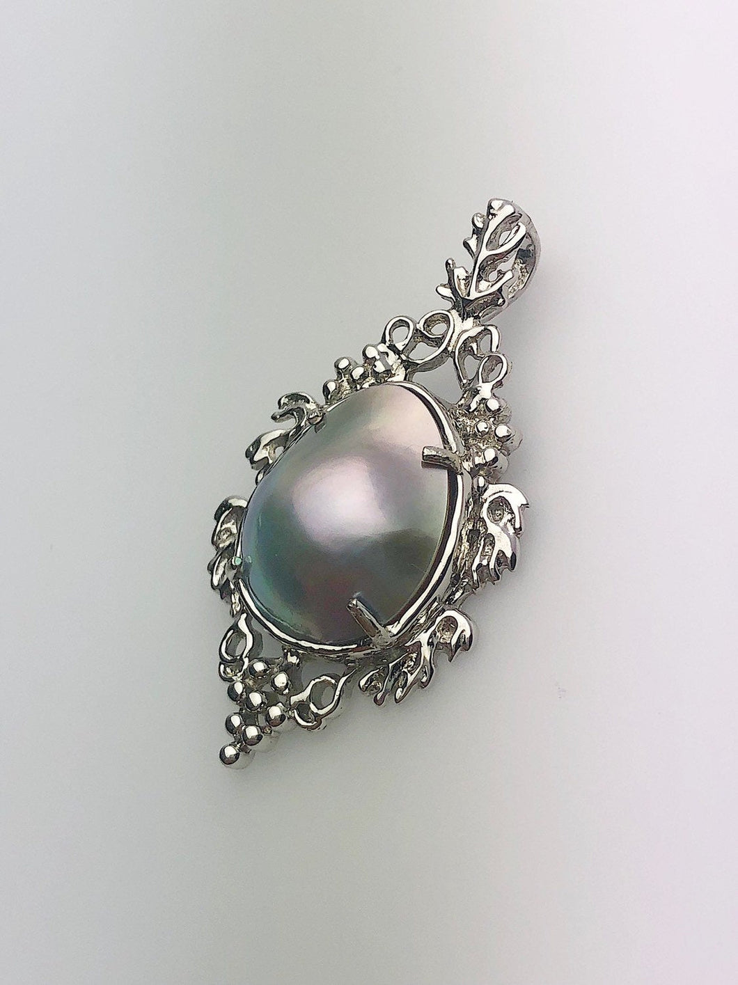 30% OFF - 14K White Gold Sea of Cortez Mabe Pearl Pendant, Made in Hawaii (#800)