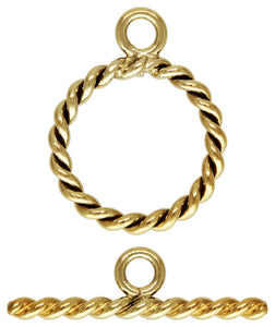 11mm Ring Twisted Toggle Set (1.3mm wire) GP, 14k gold filled. Made in USA. #4002034TSET