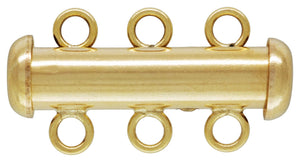 4.3x20.0mm Tube Clasp 3 Row, 14K Gold Filled, Made in USA. #40035803R