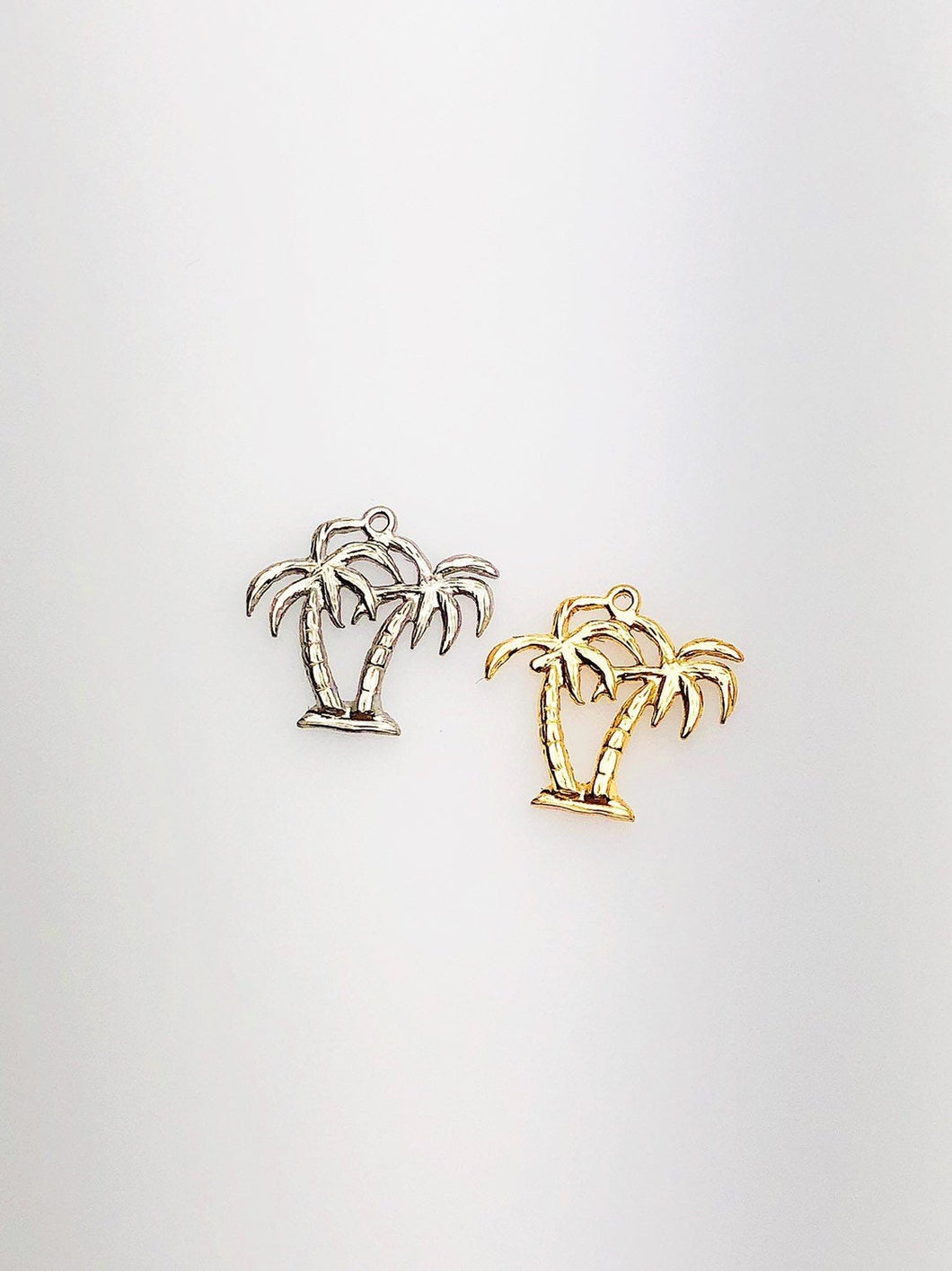 14K Solid Gold Palm Trees Charm w/ Ring, 11.9x12.2mm, Made in USA (L-13)