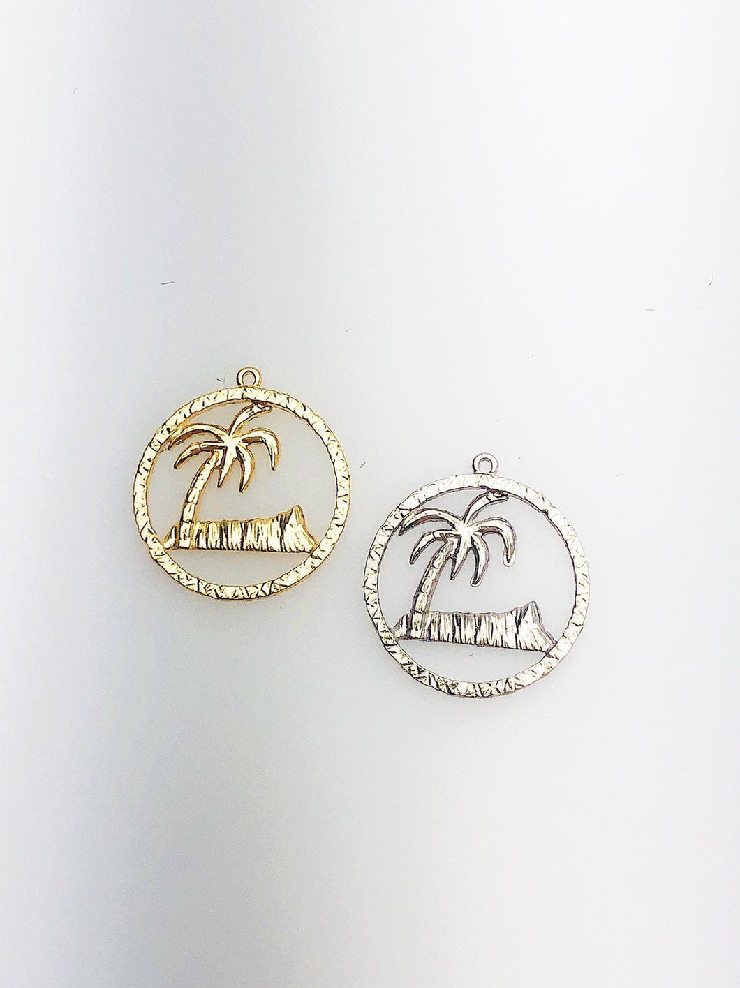 14K Solid Gold Hawaii Diamond Head Palm Tree Charm w/ Ring, 15.5mm, Made in USA (L-26)