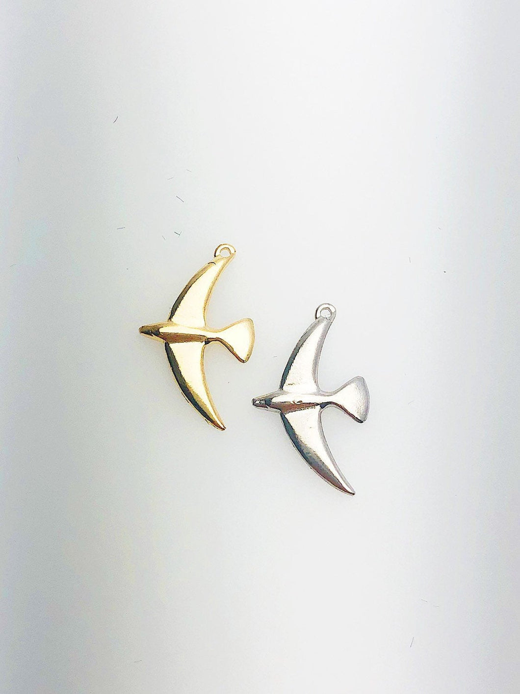 14K Solid Gold Bird Charm w/ Ring, 9.0x15.7mm, Made in USA (L-10)