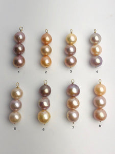 Edison Pearl Pendants on 14K Gold, Natural Color, 11-13mm, Made in Hawaii (548 No. 1-8)