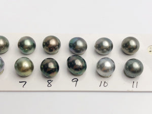 10.5-11mm Tahitian Pearls Semi-Round, AA, Loose Matched Pairs 11mm (206)
