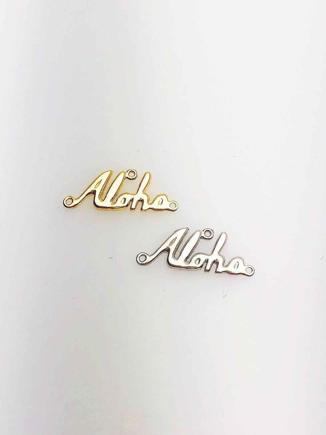 14K Solid Gold Aloha Script Charm w/two Rings, 18.0x6.9mm, Made in USA (L-166)