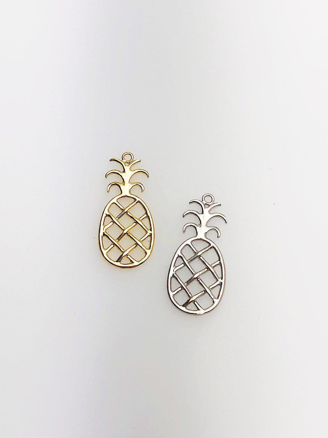 14K Solid Gold Pineapple Charm w/ Ring, 8.9x19.8mm, Made in USA (L-84)