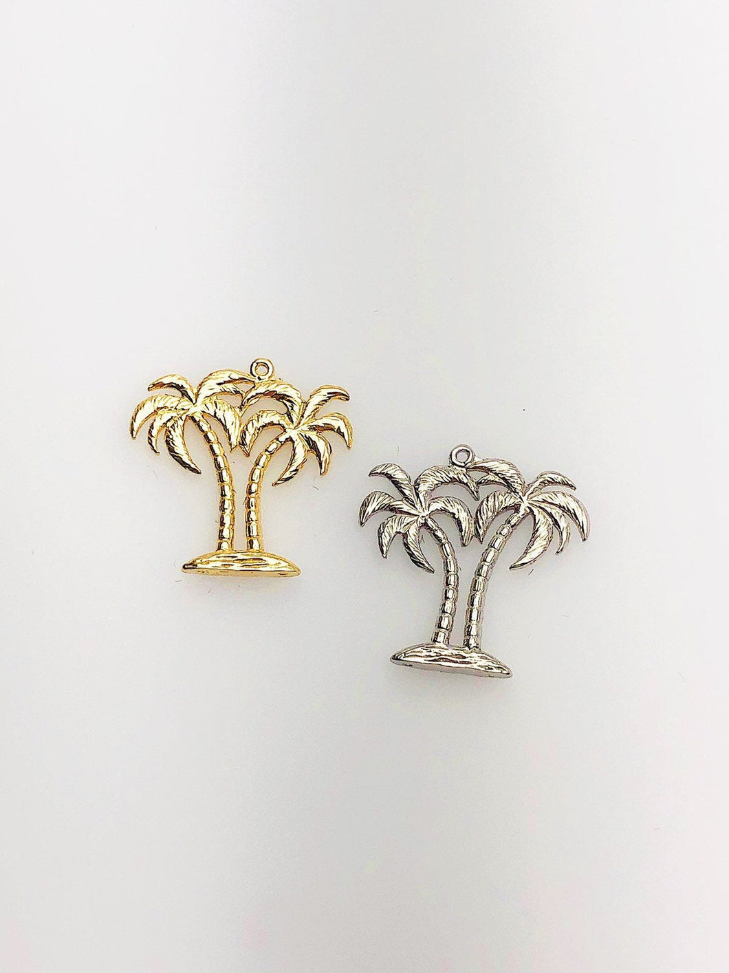 14K Solid Gold Palm Trees Charm w/ Ring, 18.0x18.5mm, Made in USA (L-129)