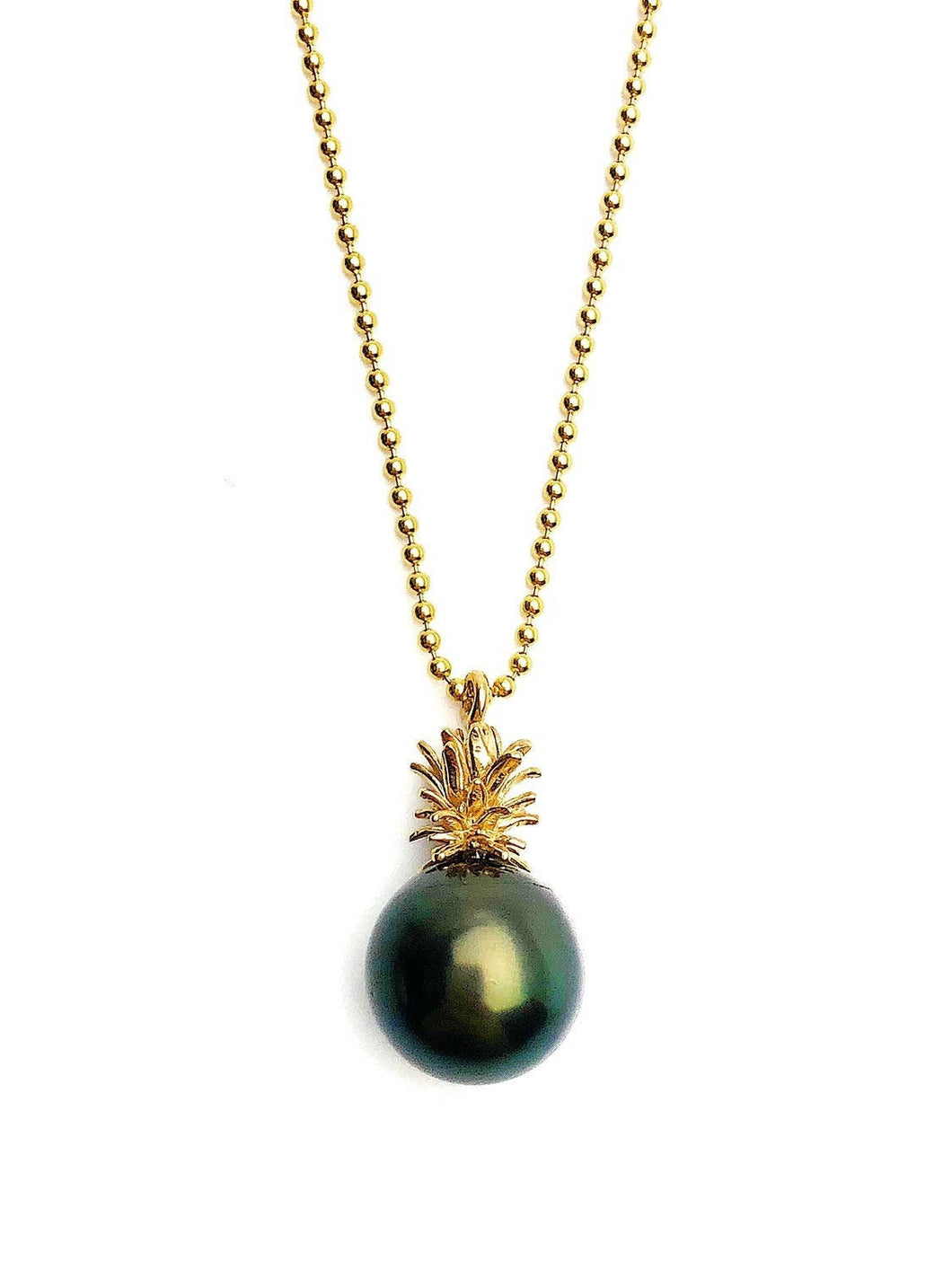 Pineapple Pearl Pendant Setting - Gold Vermeil -Made in Hawaii, Pendant