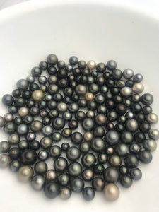 30 pcs, Round/Semi-Round/ Oval Tahitian Pearls, A+, 7mm to 11mm, Imported from Tahiti