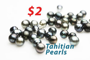 Bag of 100 Tahitian Pearls, Only 1.99 each - 100 pcs Wholesale Pearls, 7-11mm (LOT 99) Cheap Pearls