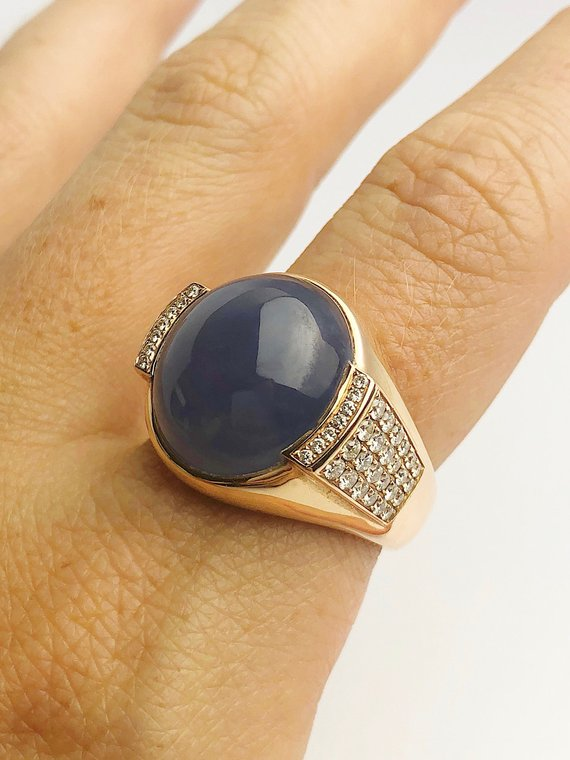 18K Rose Gold - Natural Blue Jade - Statement Ring - Size 9.5 - Handmade
