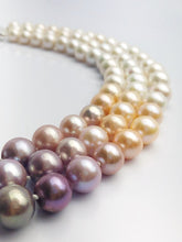 Edison Pearl Triple Strand Necklace, Natural Color, 10-13mm