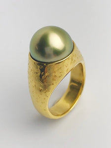24K Gold - Natural Color - 13.35mm Pistachio Tahitian Pearl - Statement Ring - Size 8.5 - Handmade