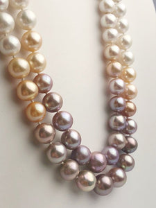 Edison Pearl Double Strand Necklace, Natural Color, 10-13mm