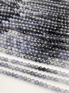 HALF OFF SALE - Blue Iolite Shaded Ombre Gemstone Beads, Full Strand, Semi Precious Gemstone, 13""